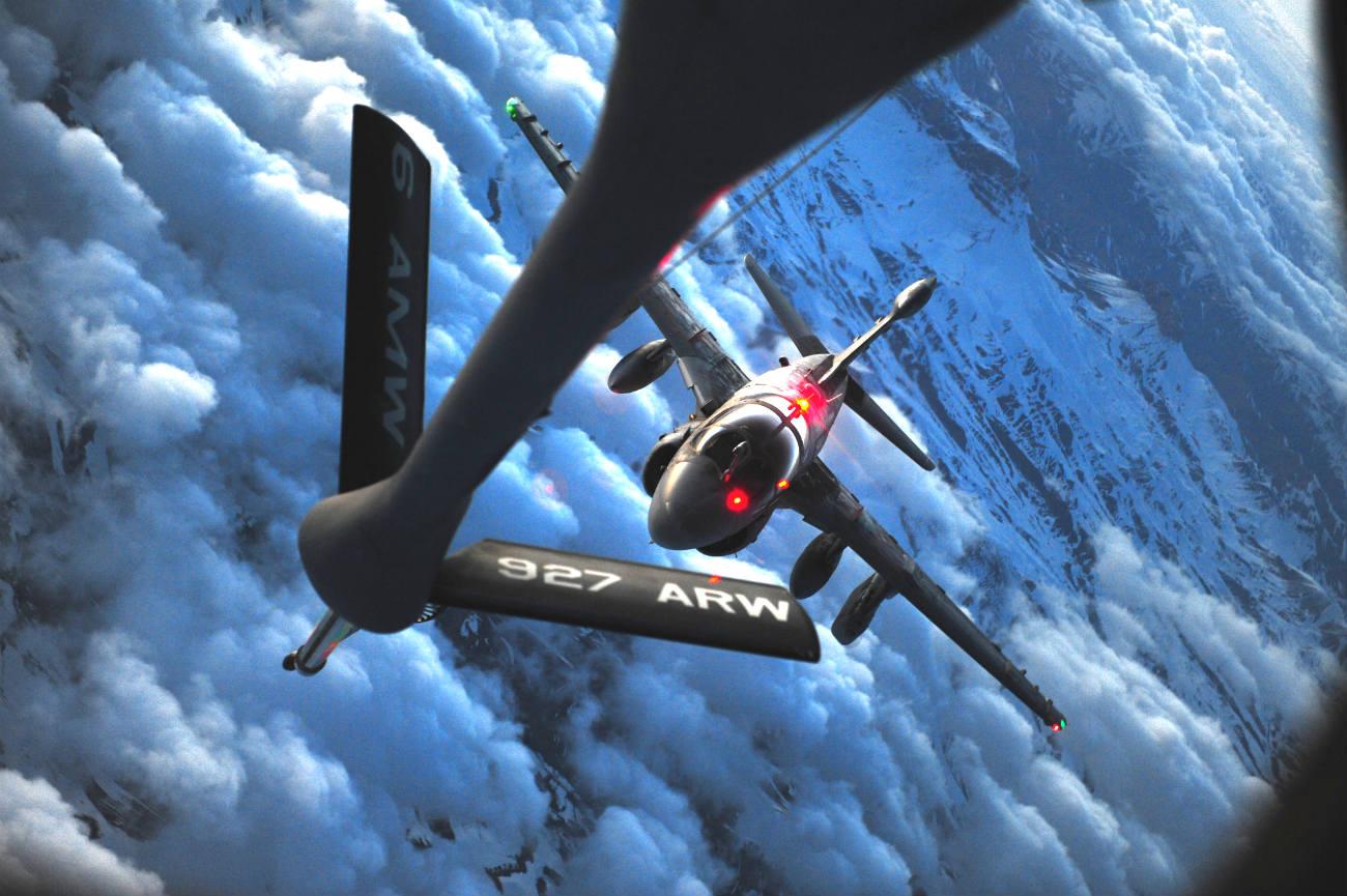 Prowler aircraft refuels