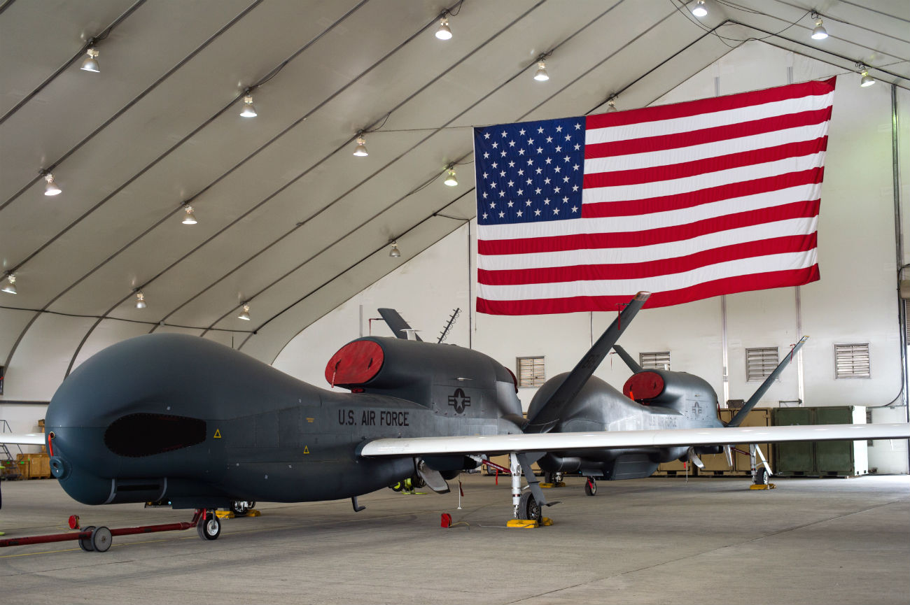 RQ-4 Global Hawks in Hangars