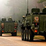 Stryker Military Vehicles Convoy
