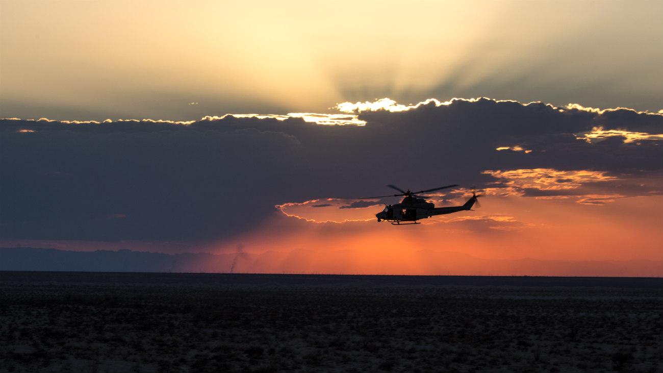 UH-1 Helicopter Sunset