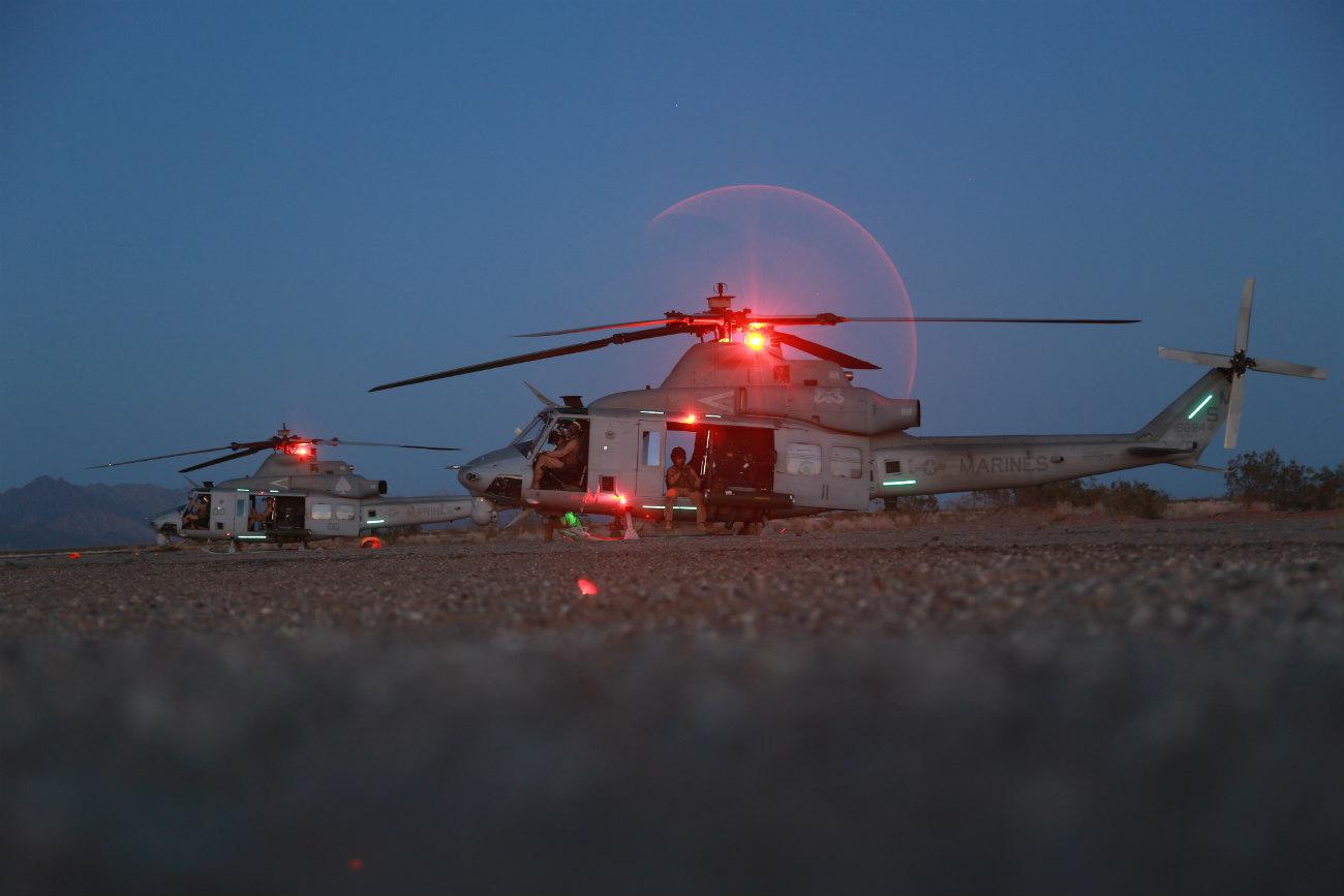 UH-1 Huey Parked night