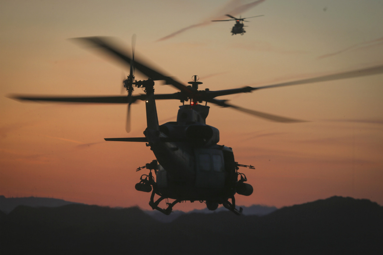 UH-1 huey tail sunset