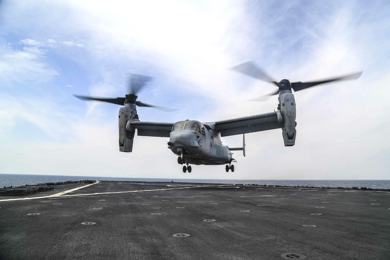 V-22 Osprey landing on carrier