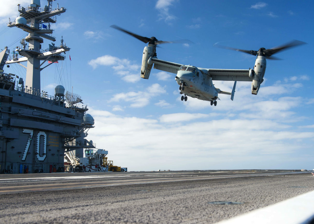 V-22 Osprey lands on carrier