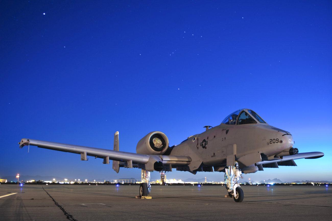 A-10 Thunderbolt parked night