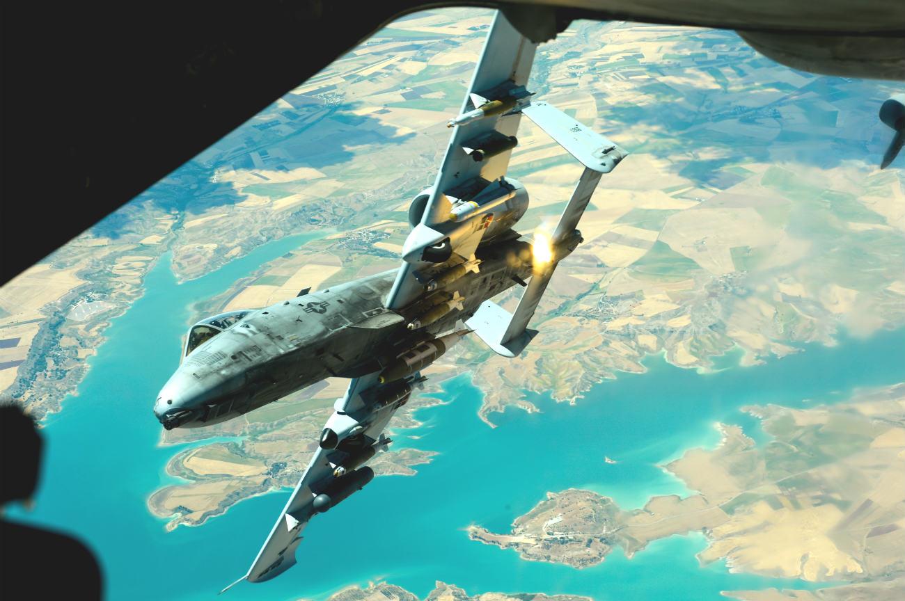 A-10 Warhog fires flare