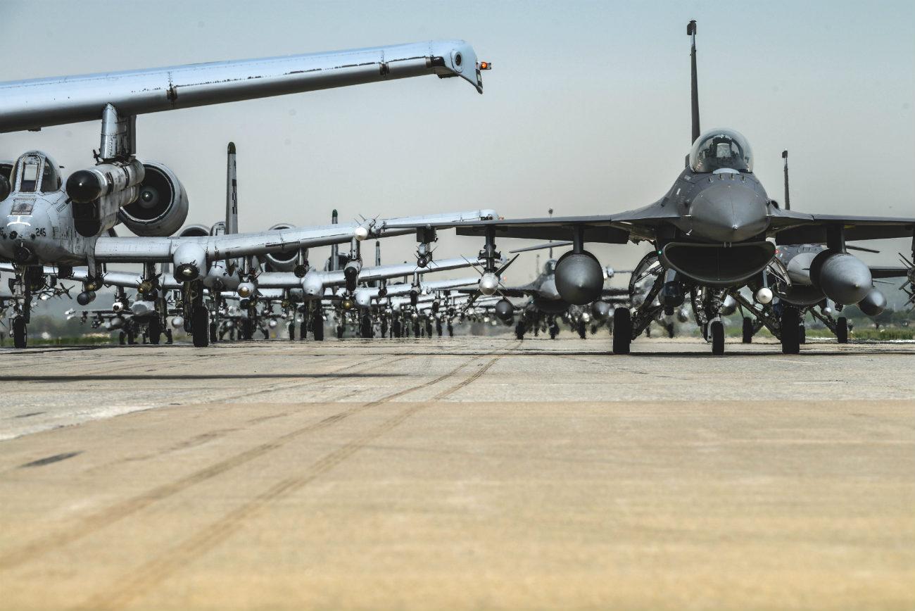 A-10 and f-16 Elephant walk