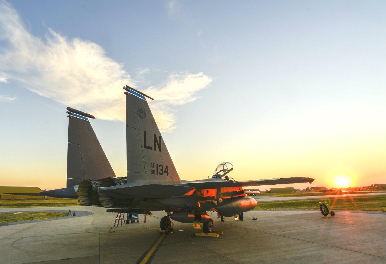 F-15 Eagle strike sunset