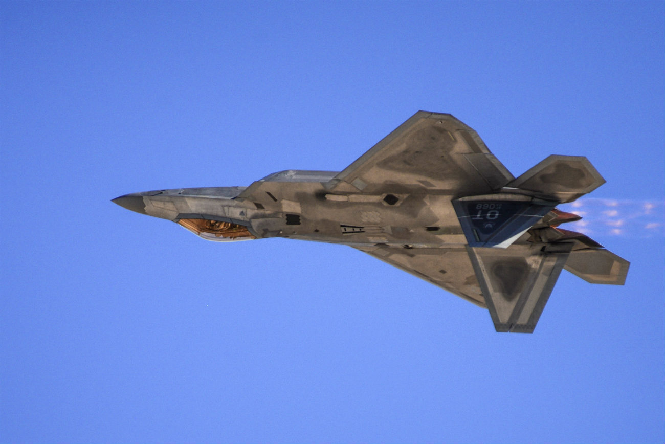 F-22 Raptor upside down