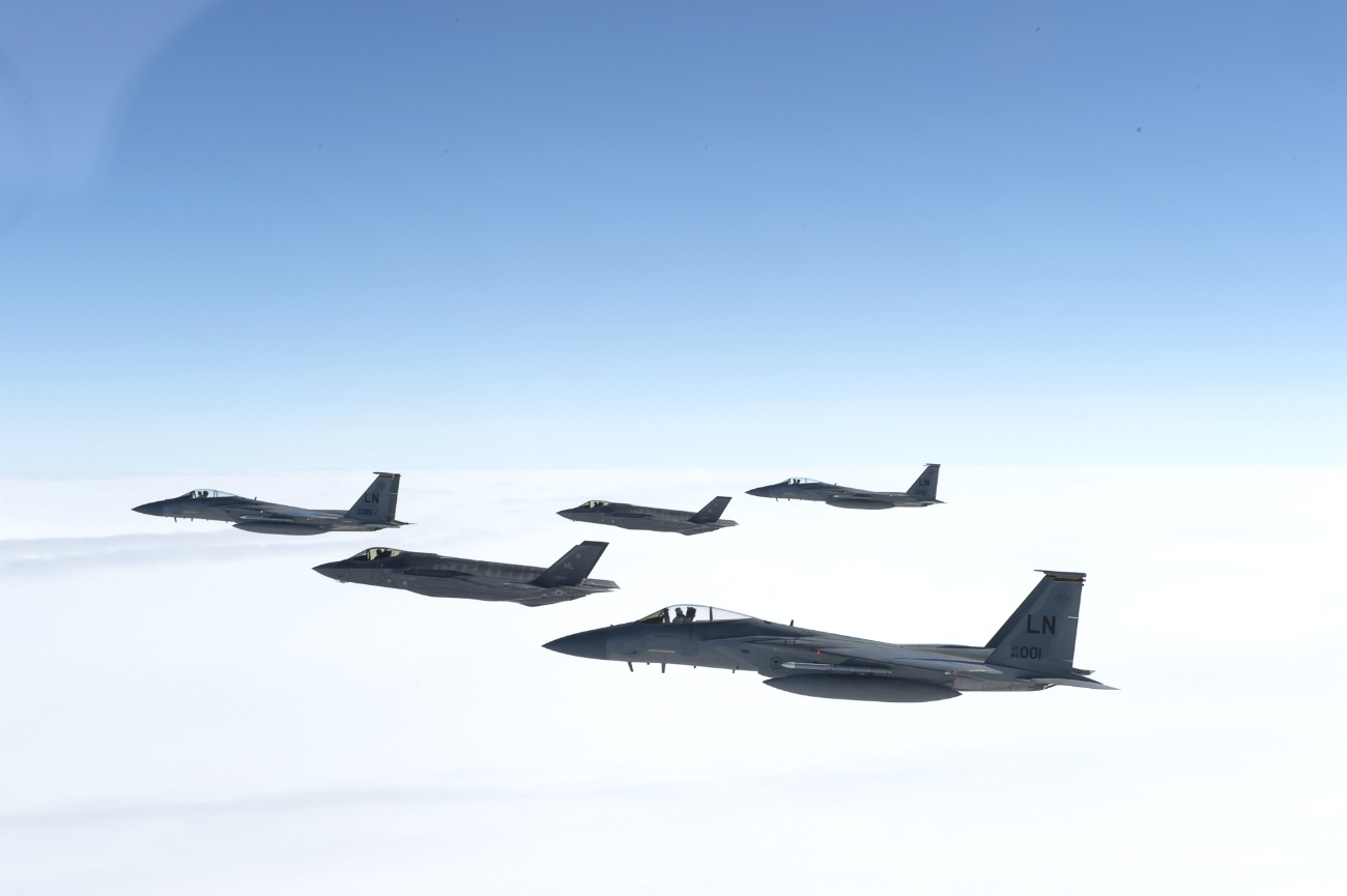 F-35 and f-16 in formation