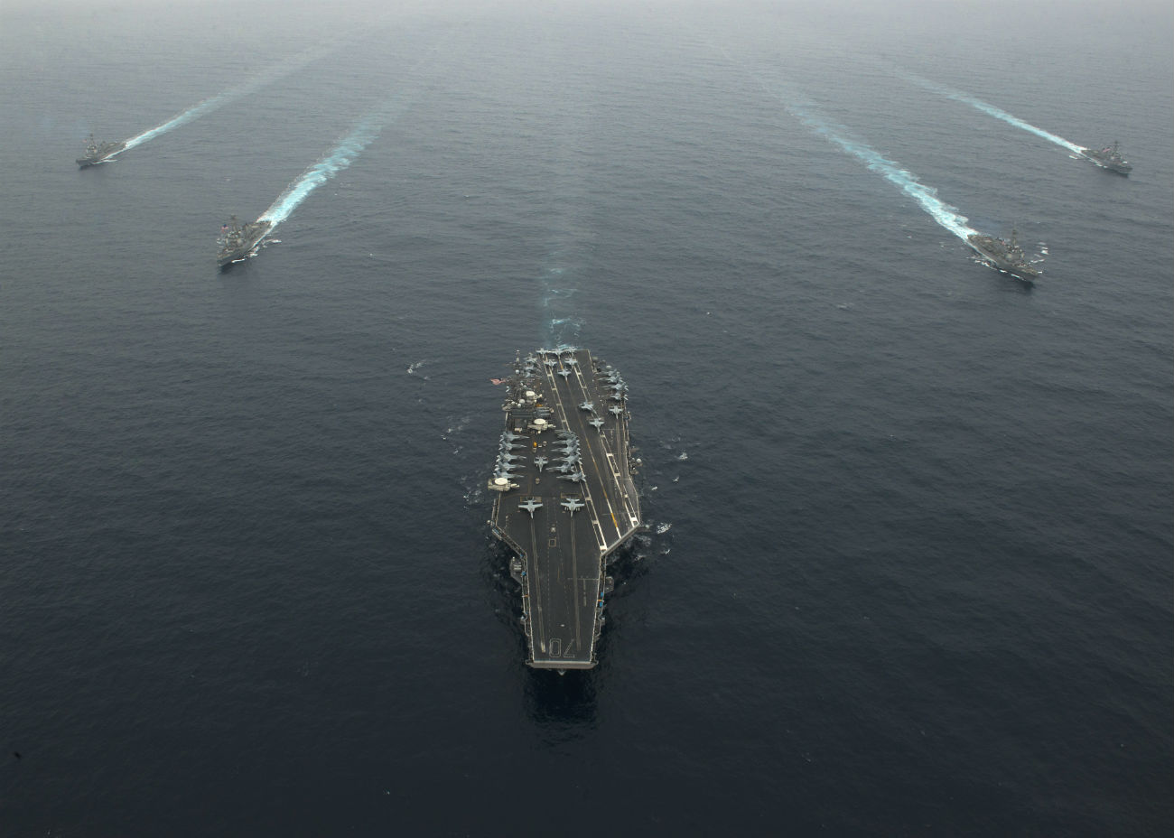 Aircraft carrier in formation