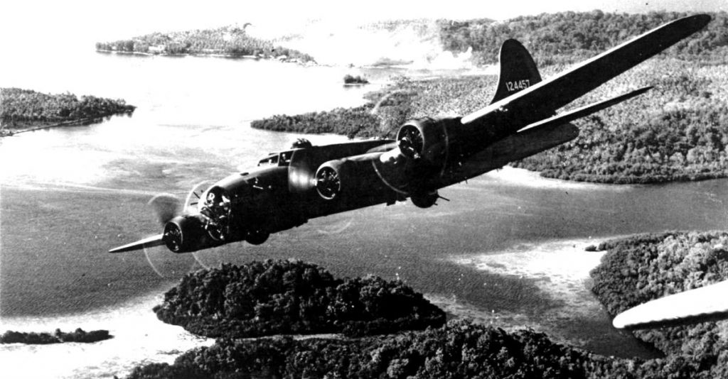 B-17 Flying over Islands