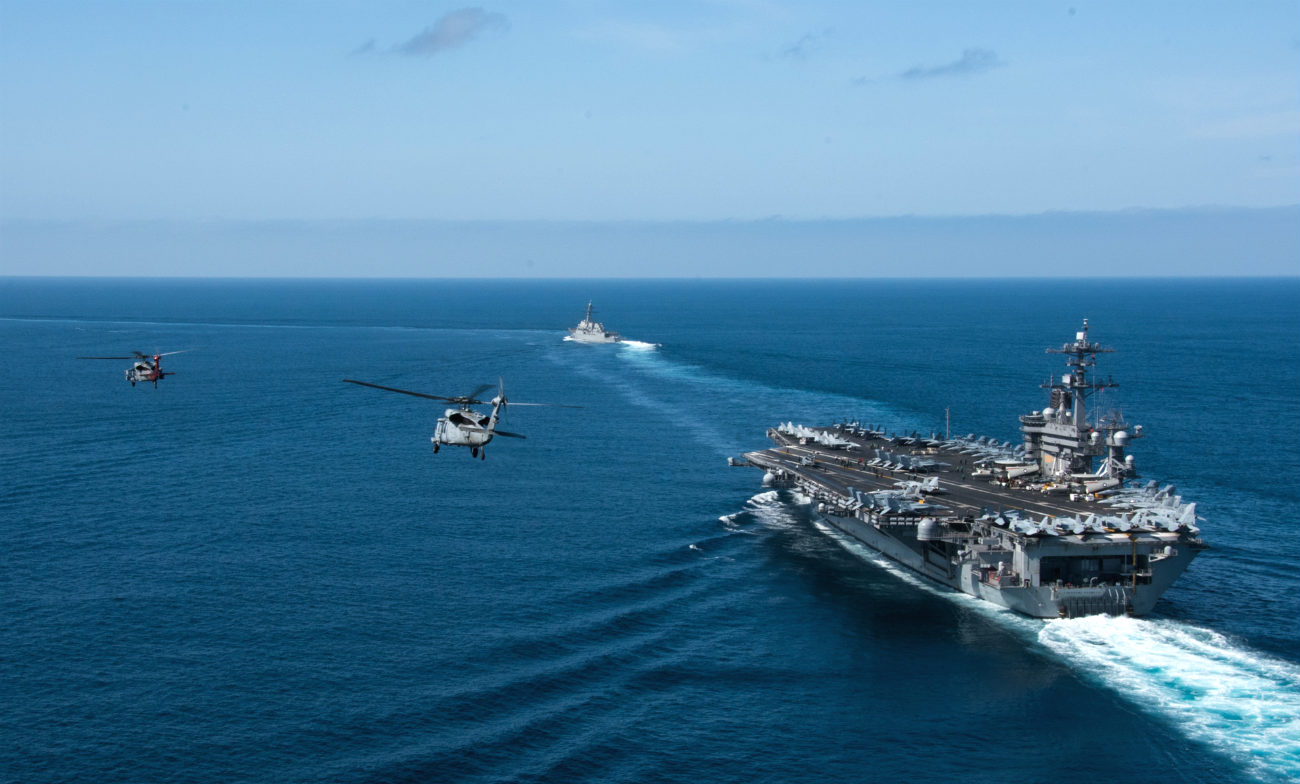 Fleet with aircraft carrier