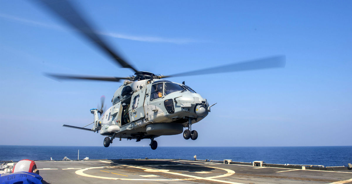 NH-90 Helicopter Lands on Aircraft Carrier