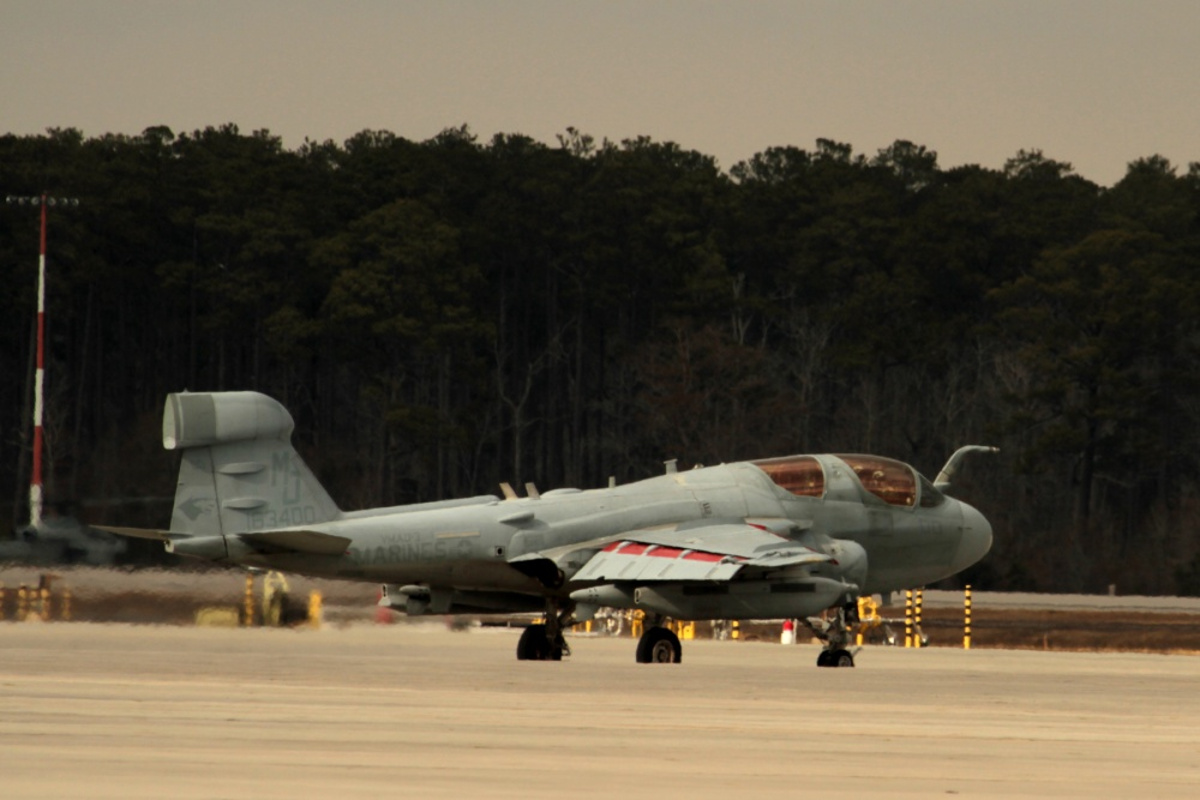 US Marine Corps EA-6B Prowler on Runway