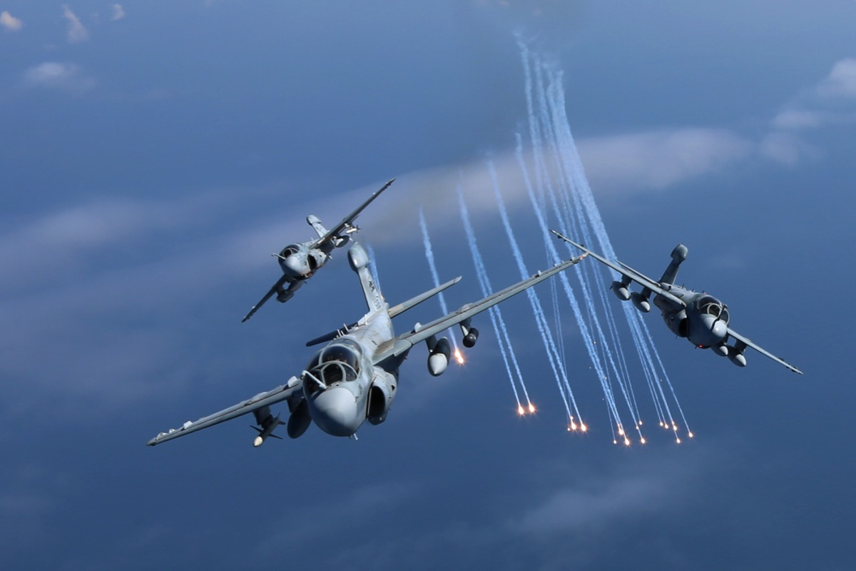 EA-6B Prowlers Launching Countermeasures