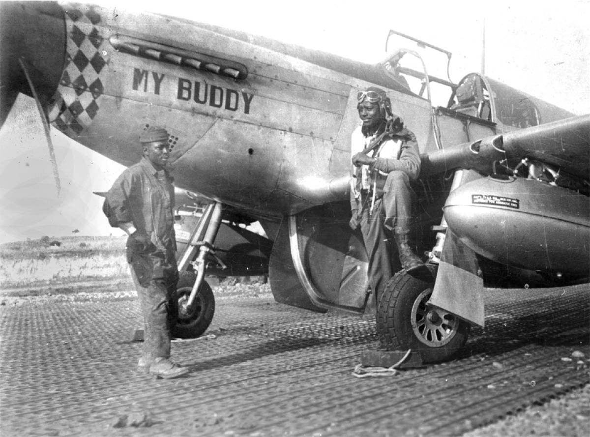 Two Tuskegee Airmen with Their Mustang