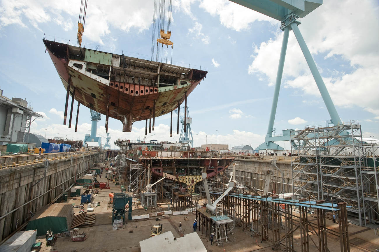 USS Gerald R Ford - Sections moved into place