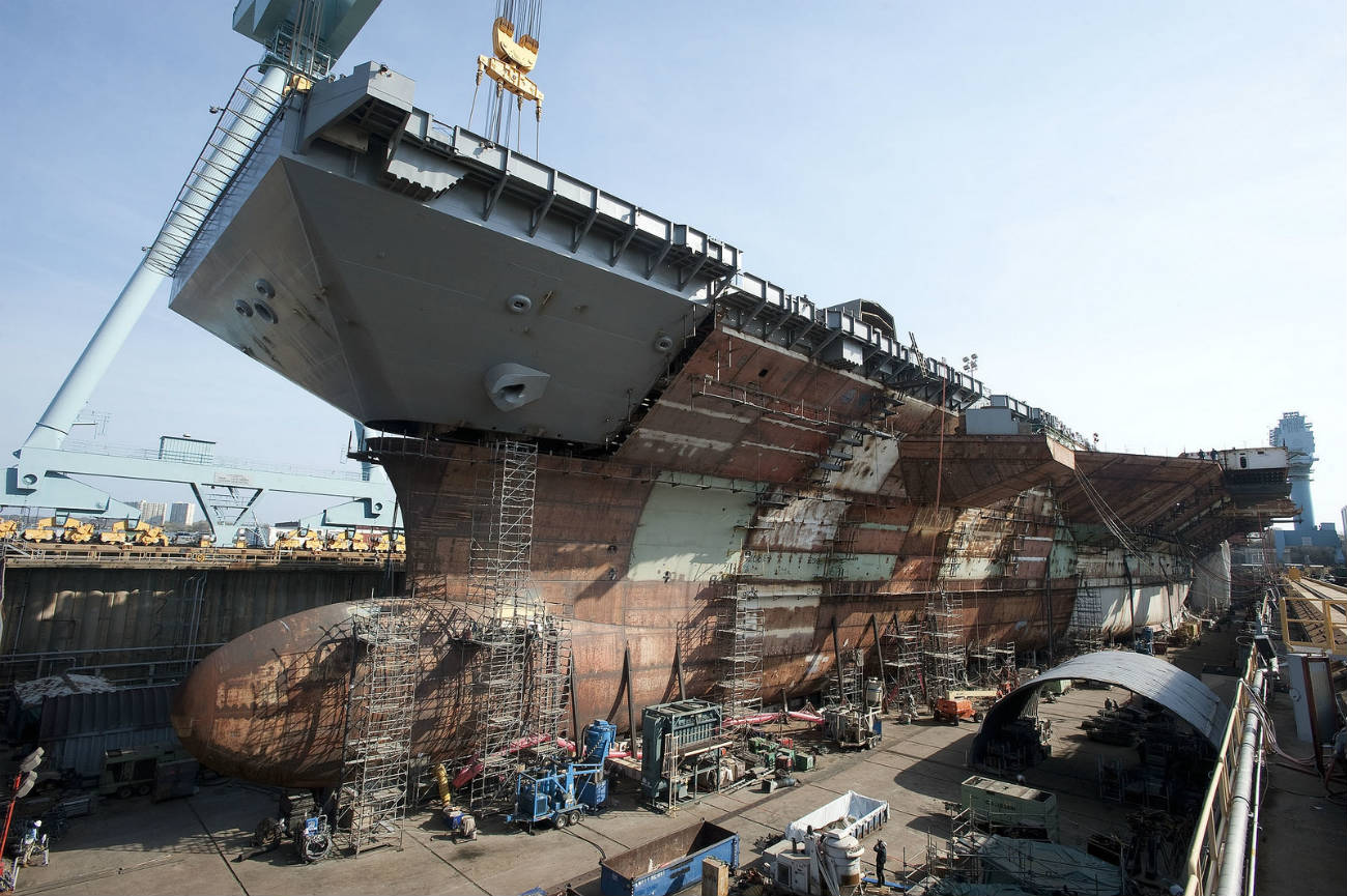 USS Gerald R Ford - Upper bow is lifted