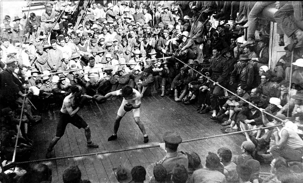 soldier boxing match aboard ship