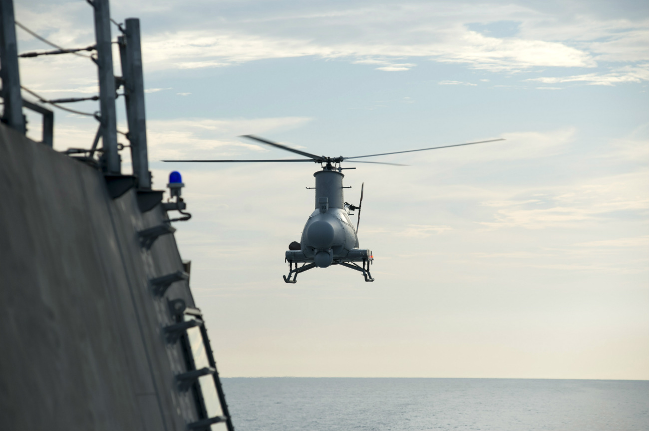 MQ-8B Fire Scout - Hovering over the flight deck