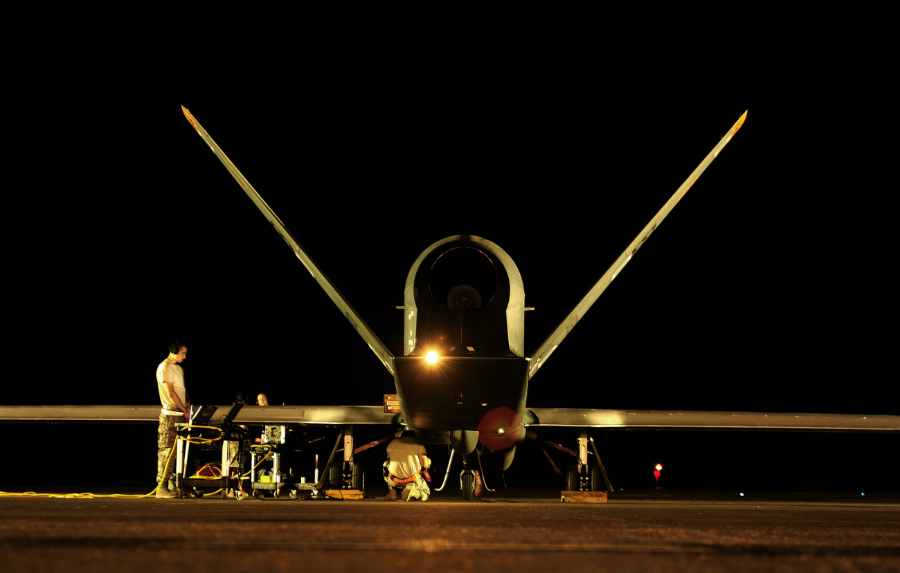 RQ-4 GLobal Hawk - Prepares for flying mission