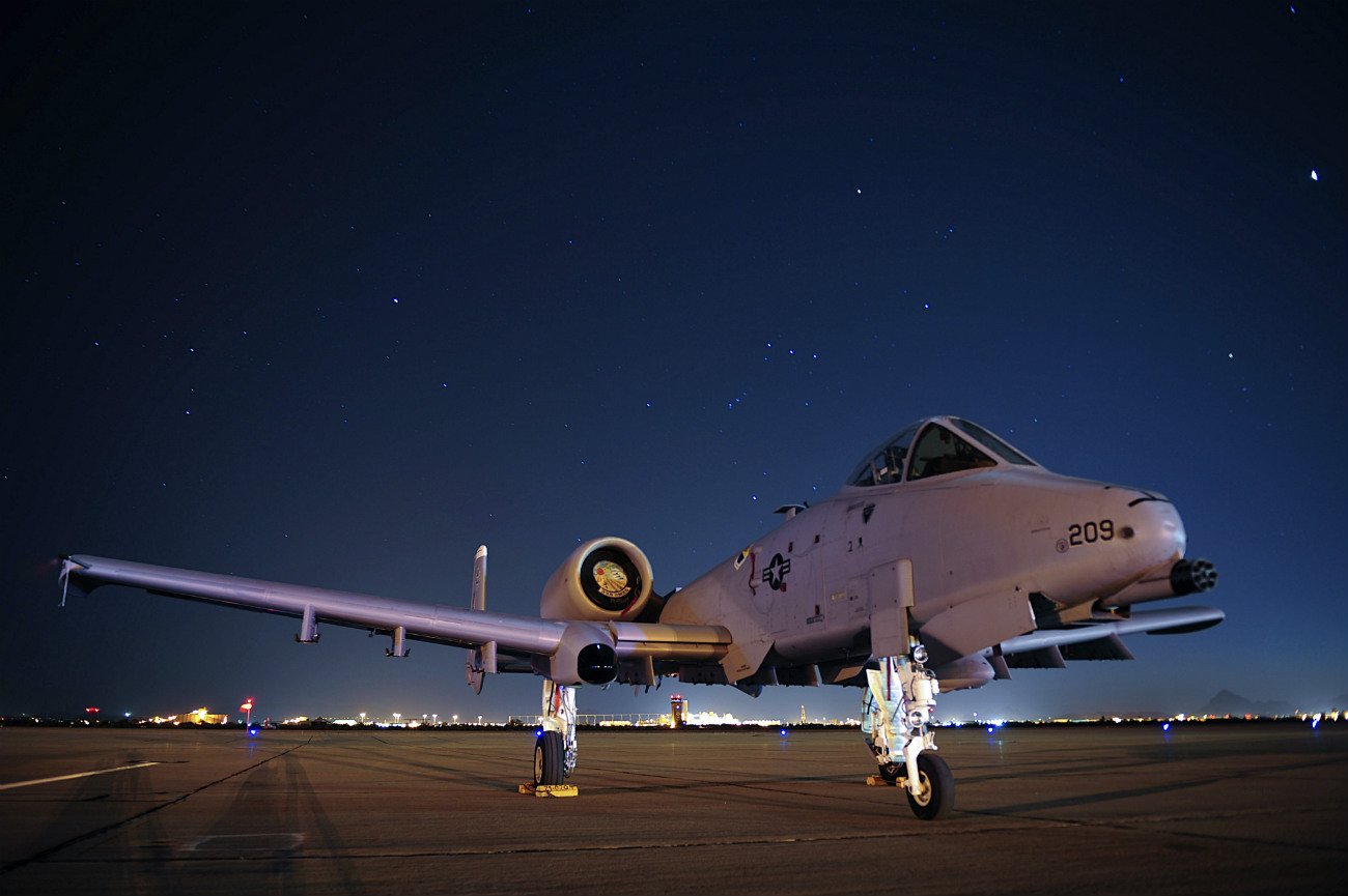 US Military Aircraft at Night Images - A-10C Thunderbolt II sitting on the flight line