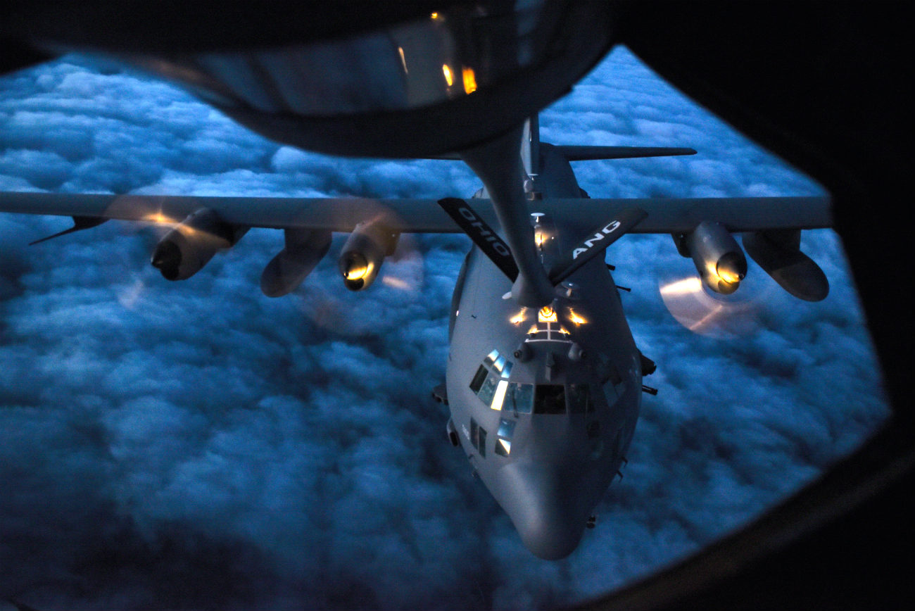 US Military Aircraft at Night Images - AC-130U Spooky aerial refueling