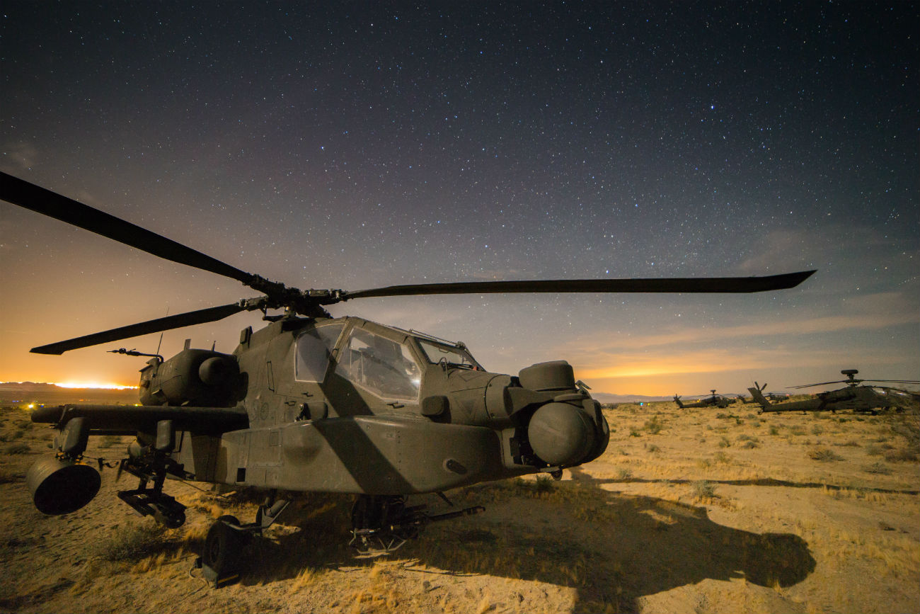 US Military Aircraft at Night Images - AH-64 Apache sitting under the stars