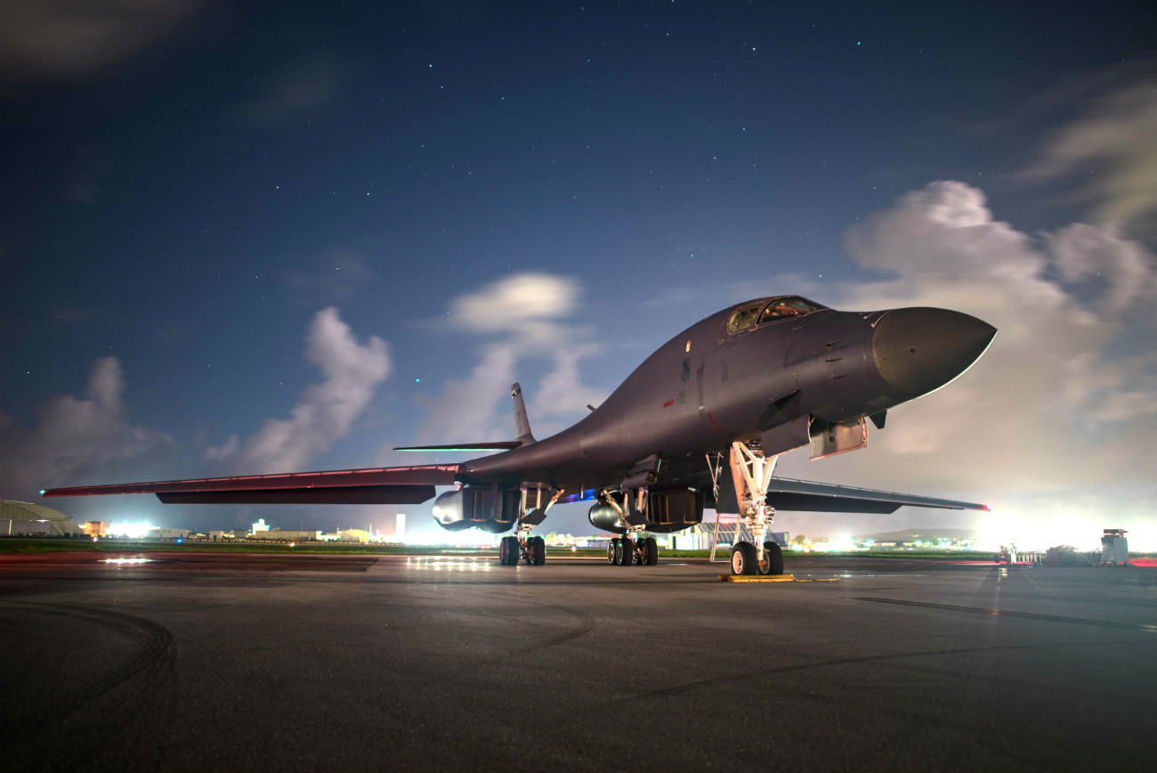 US Military Aircraft at Night Images - B-1B Lancer on the flight path
