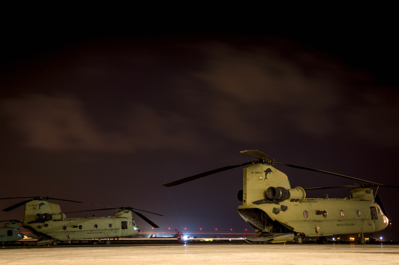 US Military Aircraft at Night Images - CH-47 Chinook preparing for deployment