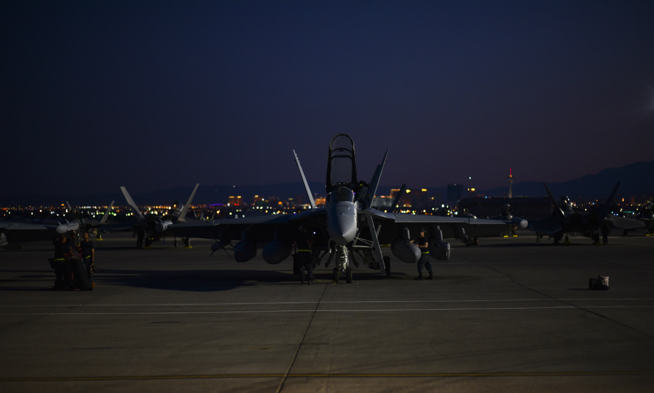 US Military Aircraft at Night Images - EA-18G Growler on the flight line