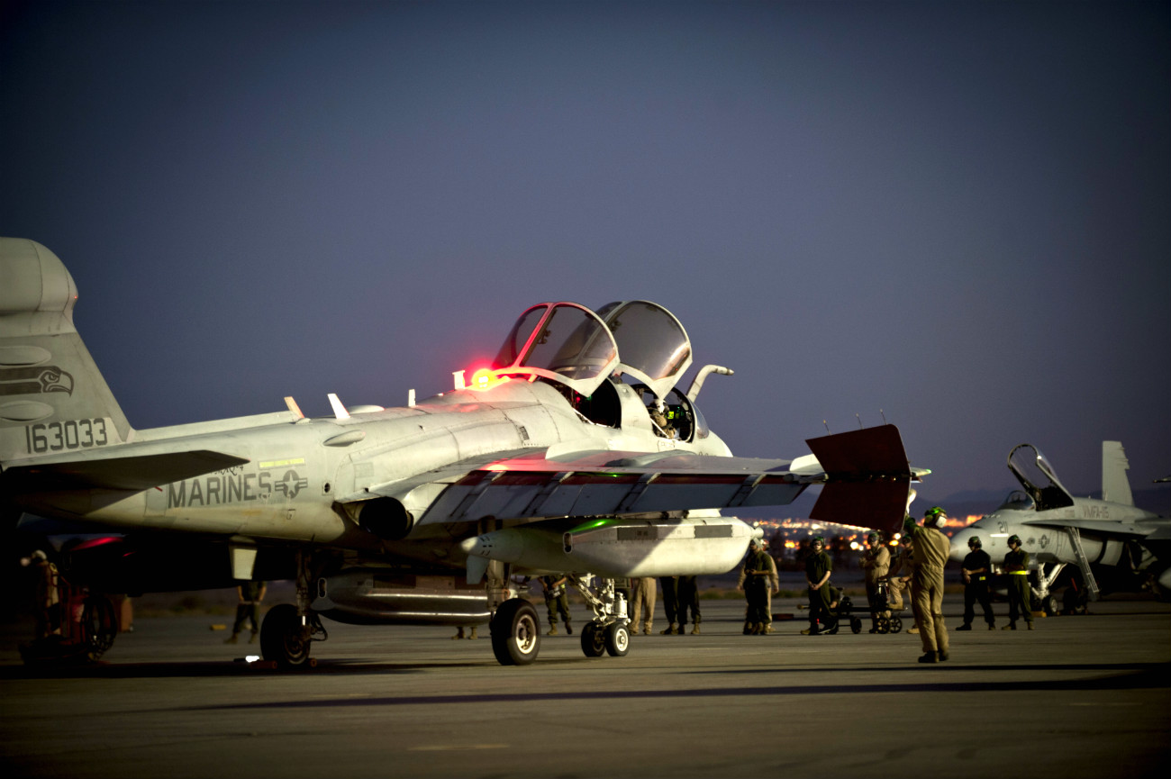 US Military Aircraft at Night Images - EA-6B Prowler pre-flight inspection