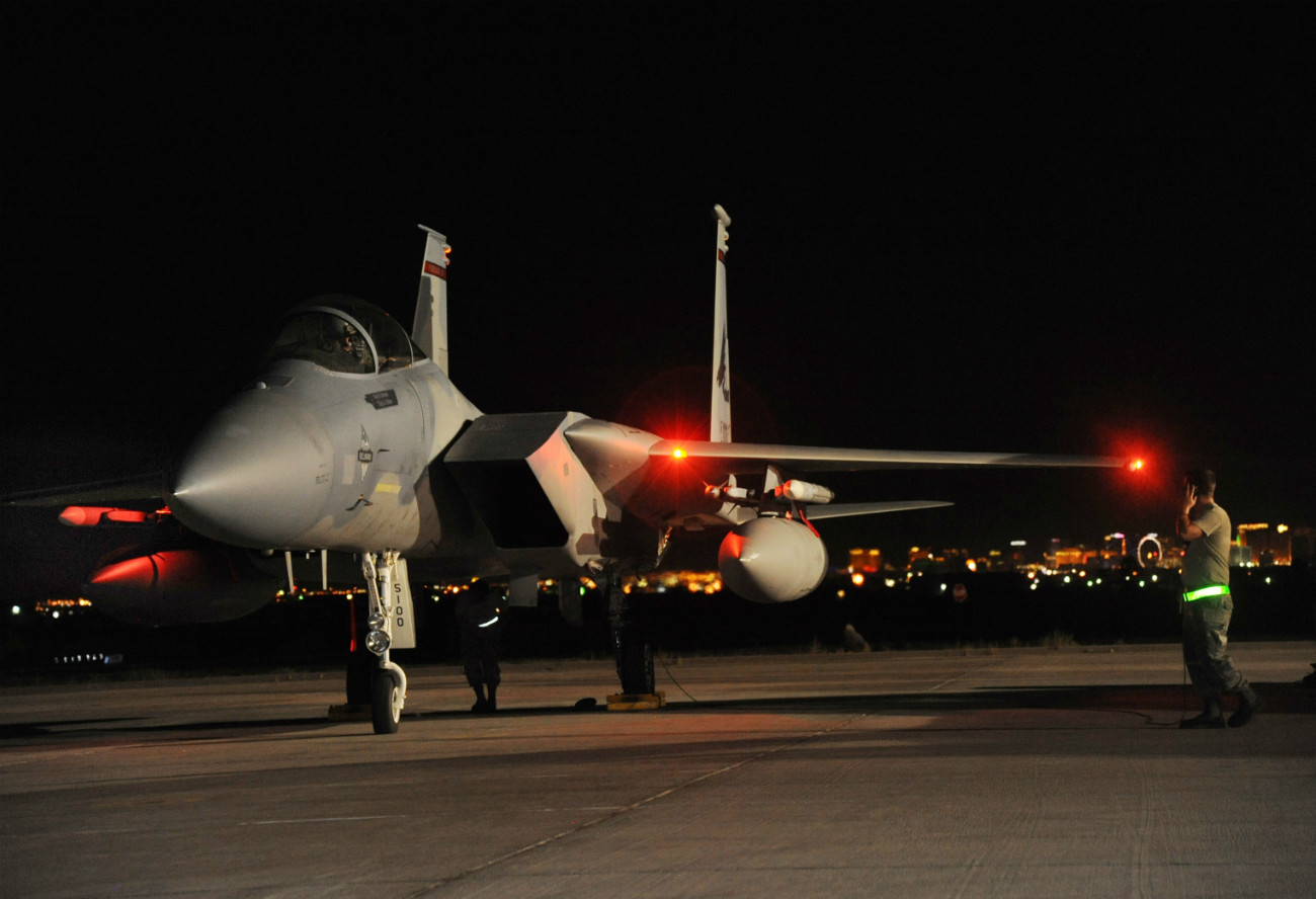 US Military Aircraft at Night Images - F-15 Eagle preparing to take off