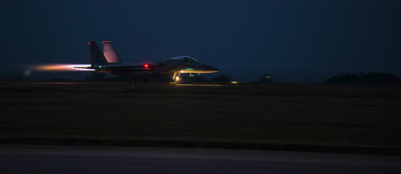 US Military Aircraft at Night Images - F-15 Eagle taking off