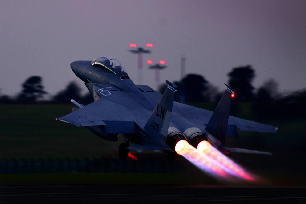 US Military Aircraft at Night Images - F-15E Strike Eagle taking off