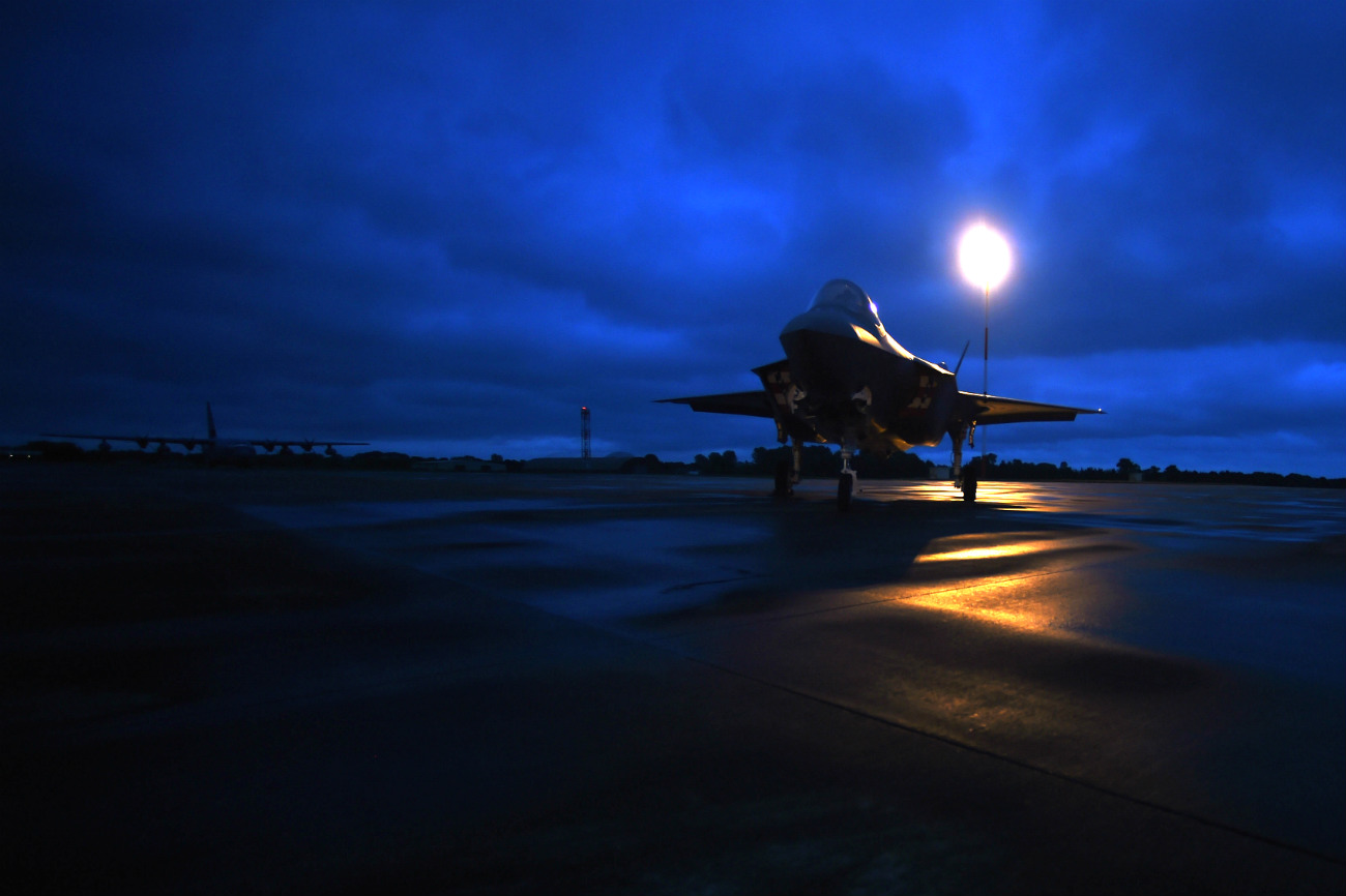 NATO Aircraft • Night Time Flight Operations • Trapani Air Force Base • Sicily Italy