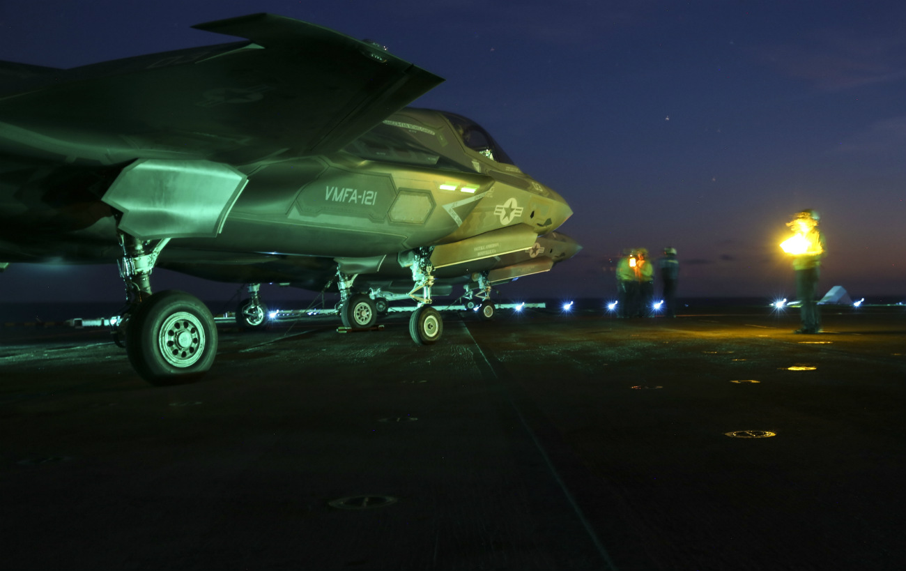 US Military Aircraft at Night Images - F-35B Lightning II preparing to taxi