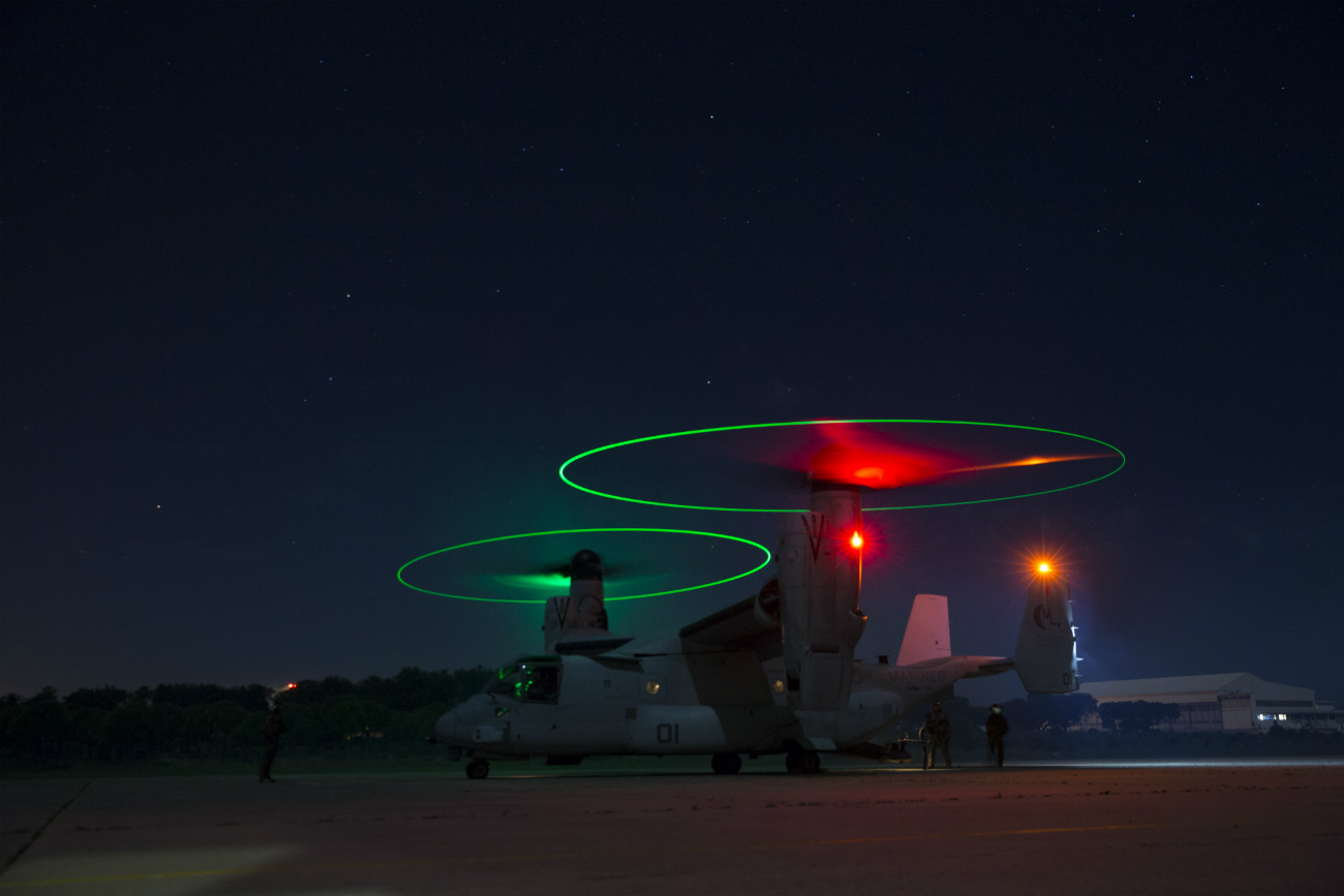 US Military Aircraft at Night Images - MV-22B Osprey preparing to take off