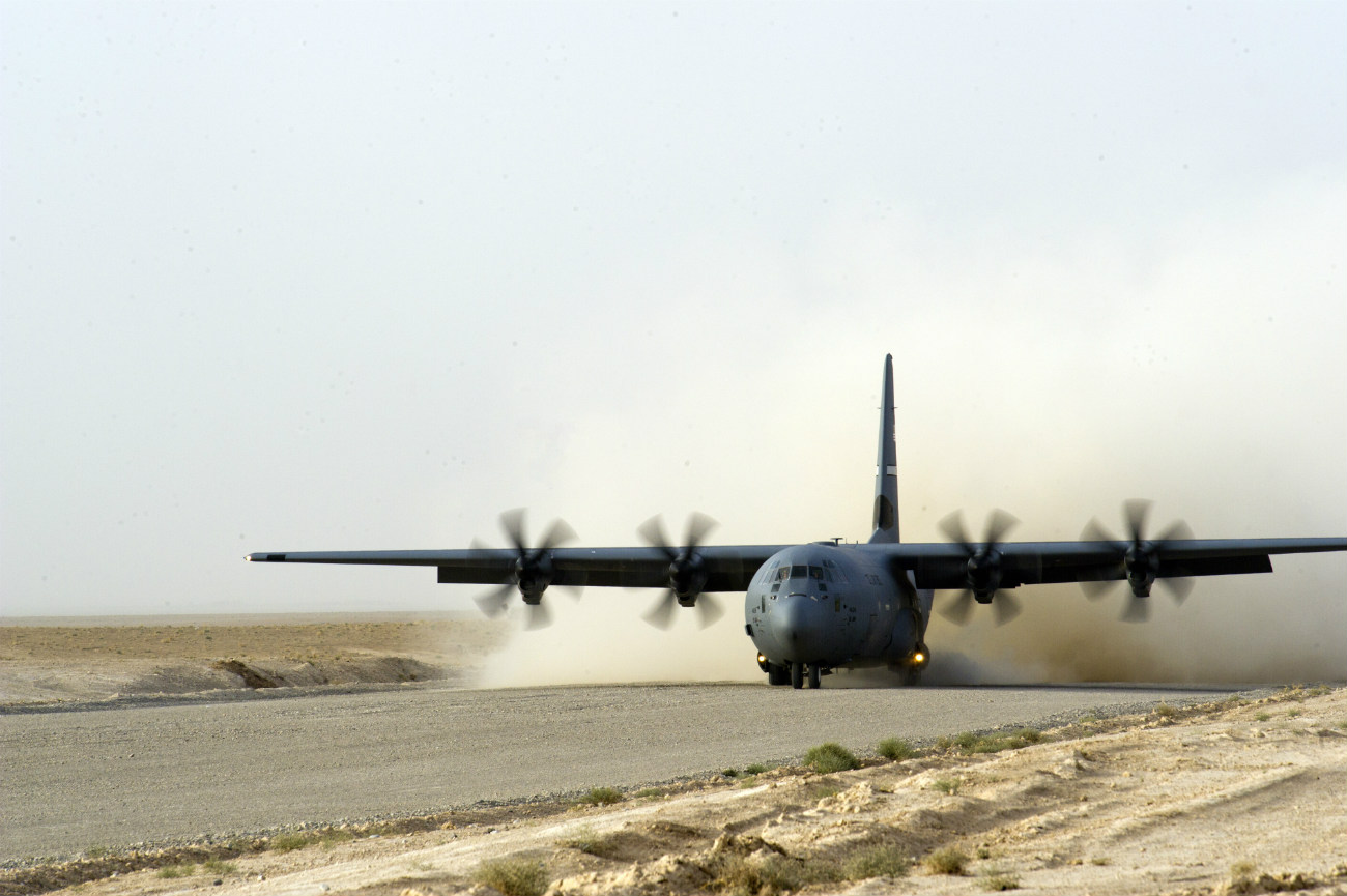 C-130J Hercules lands at a remote airfield