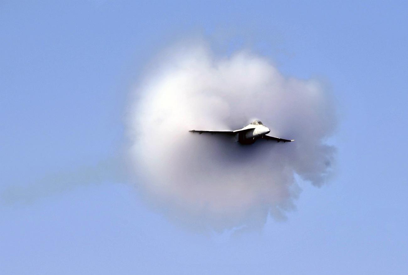 FA-18 Super Hornet breaks the sound barrier during an air power demonstration
