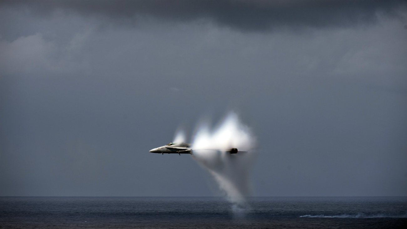 FA-18C Hornet breaking the sound barrier during air demo