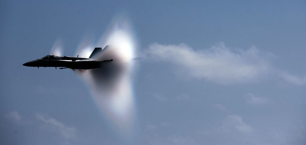 FA-18C Hornet supersonic fly-by