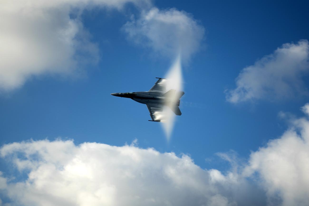 FA-18E Super Hornet breaking the sound barrier