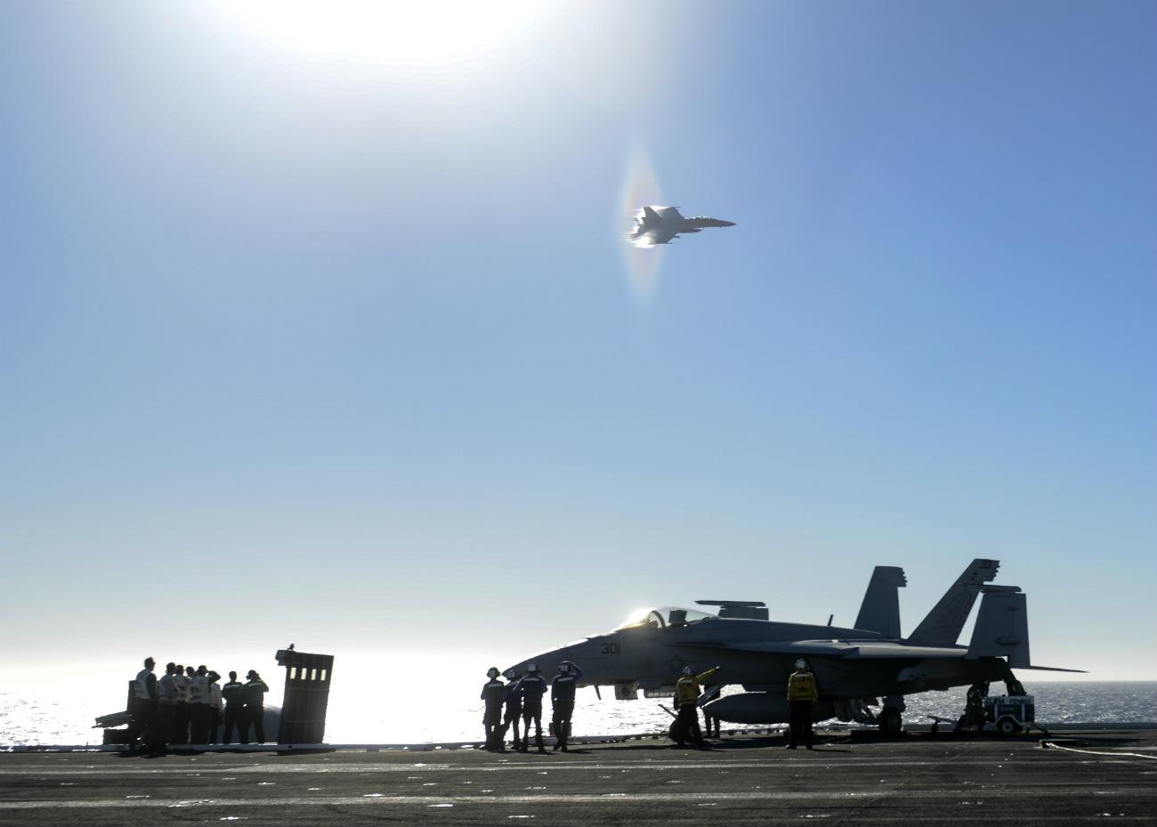 FA-18E Super Hornet preparing to break the sound barrier