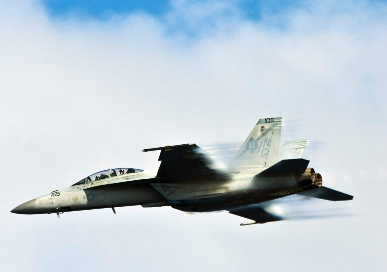 FA-18F Super Hornet from the Black Aces breaks the sound barrier