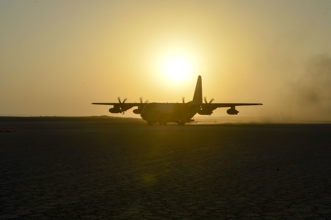 KC-130J aircraft prepares for take off