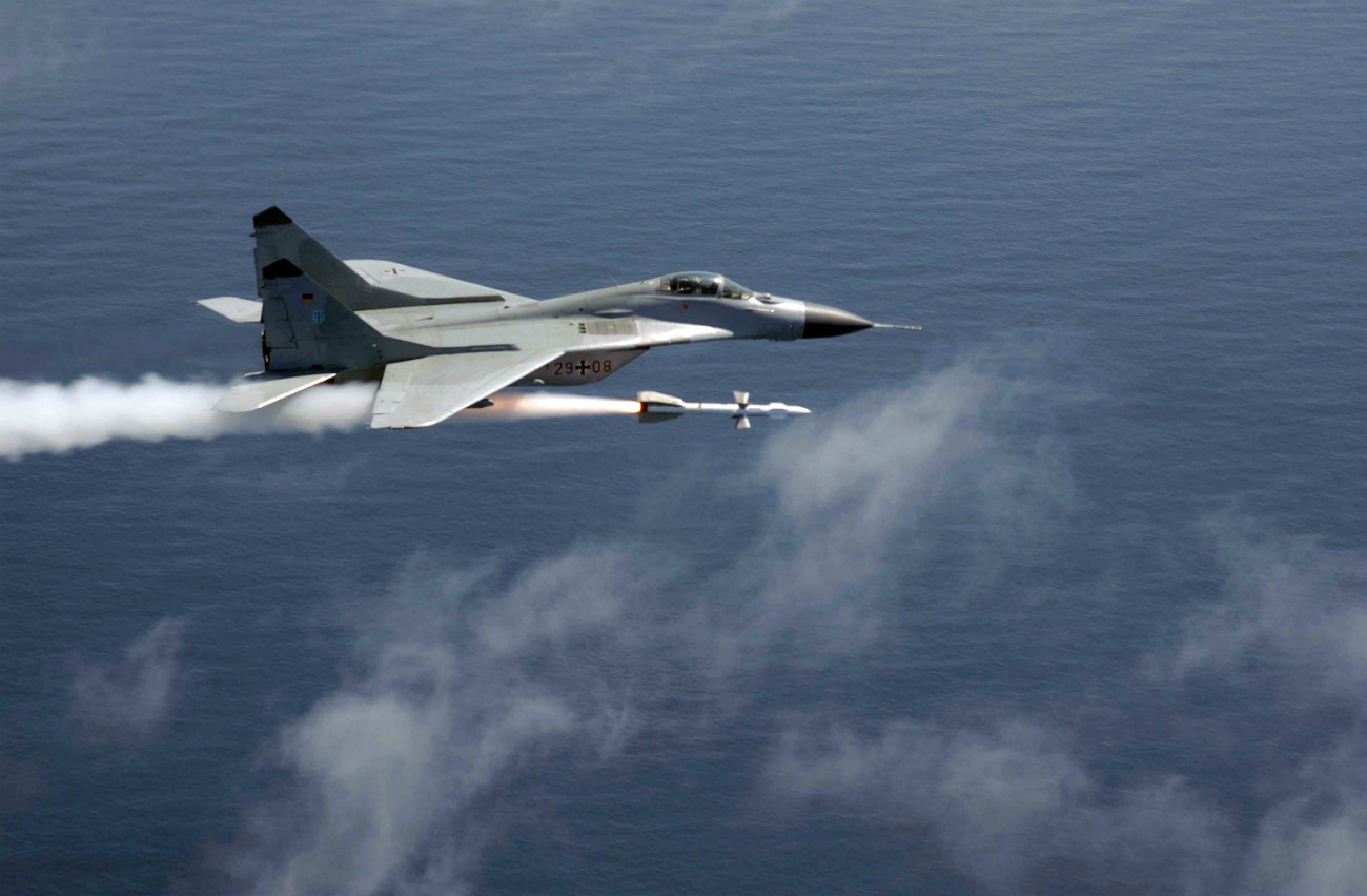 MiG-29 Fulcrum firing a guided AA-10