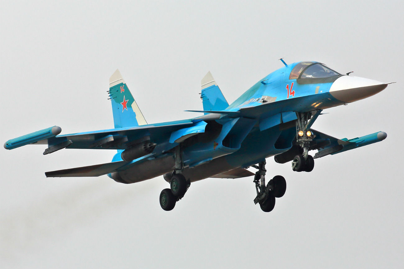 Sukhoi Su-34 initiating landing sequence