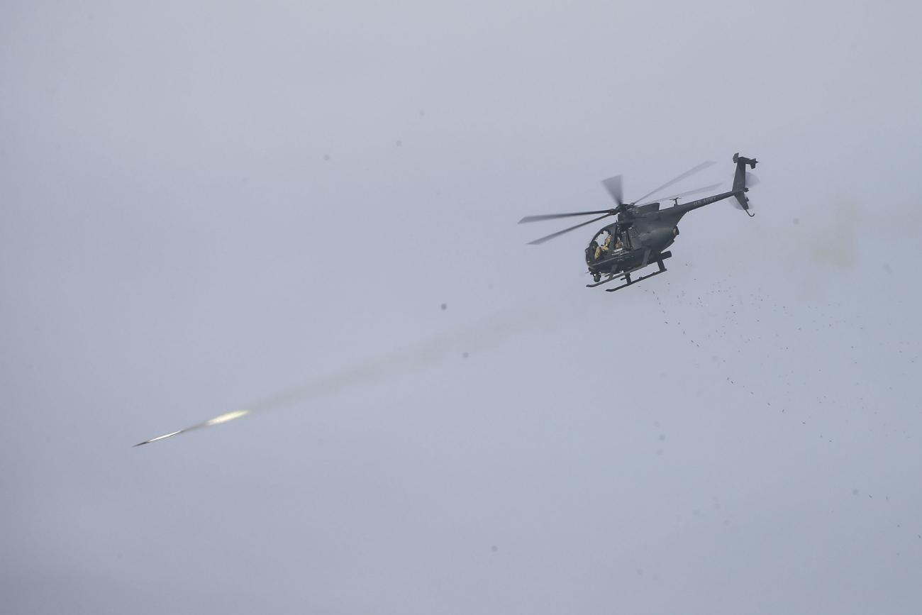 MH-6 Little Bird firing rockets